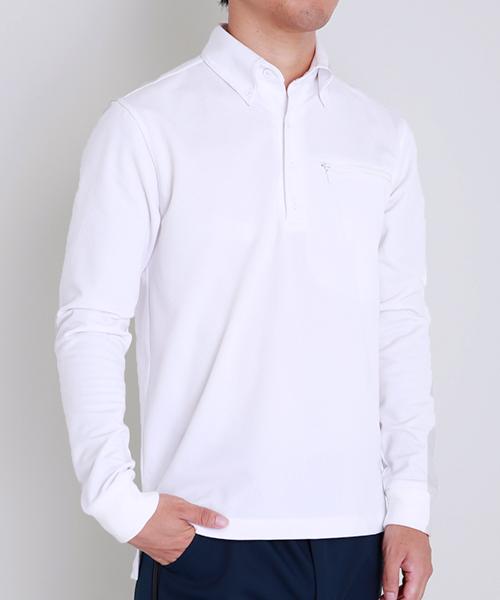 長袖ワークビズポロシャツ|ホワイト・メンズ